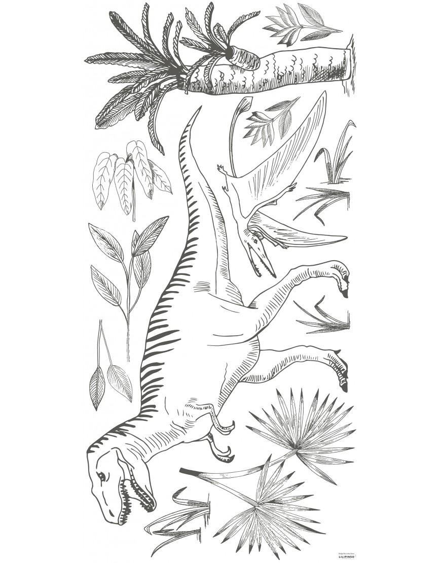 Tiranozauras ir pterozauras tarp palmių. Lipdukai sienoms