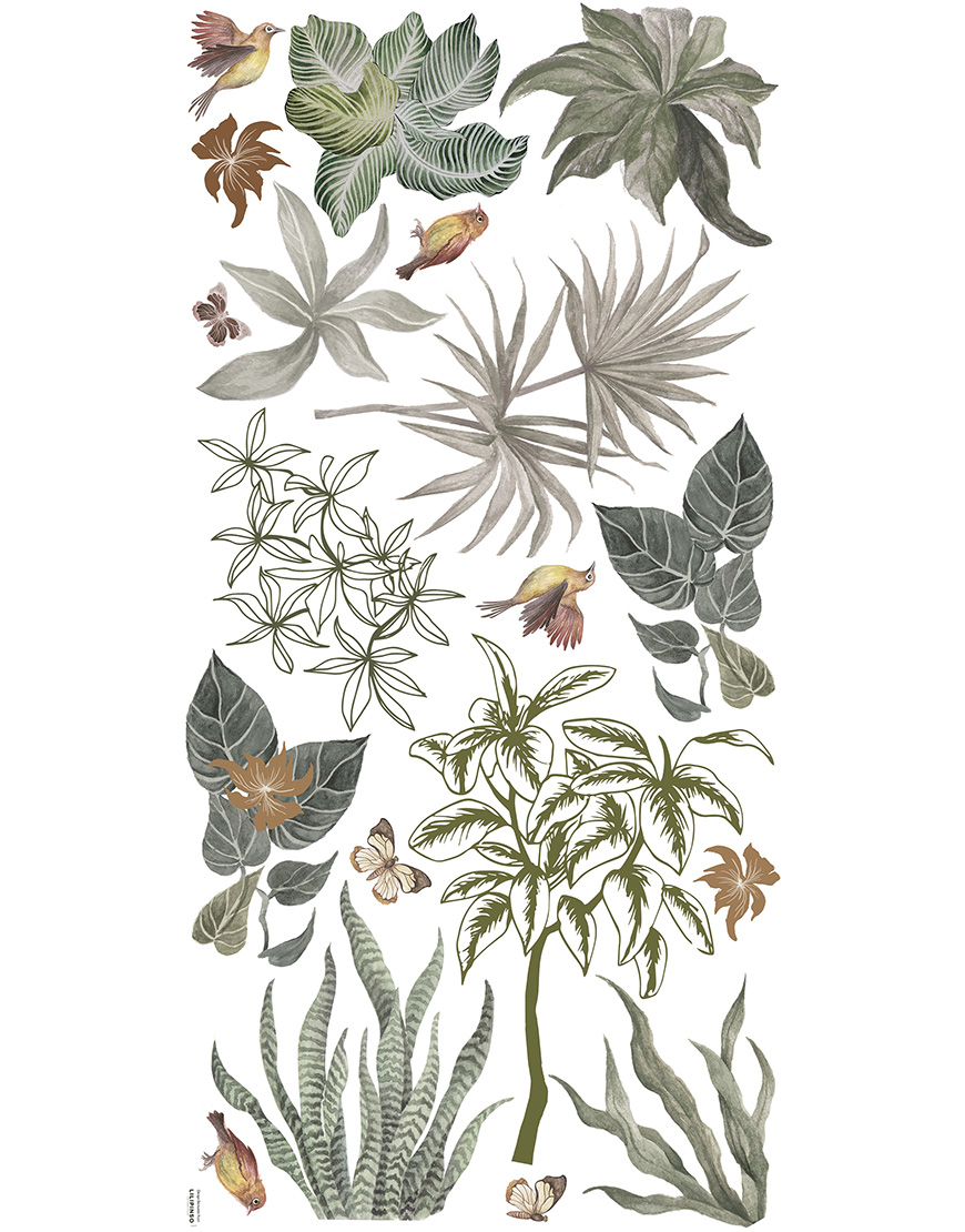 Vaiko kambario lipdukai. Atogražų augalai