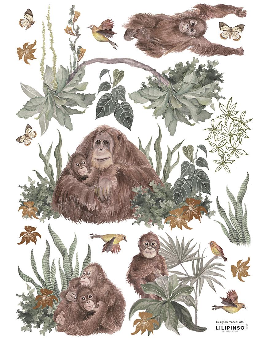 Vaiko kambario lipdukai. Beždžionės