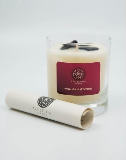 Apsauga ir ištvermė - sojų vaško žvakė su Turmalinu