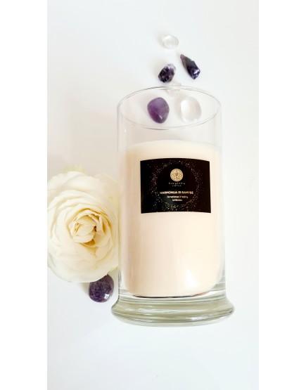 Harmonija ir ramybė - sojų vaško žvakė su ametistu ir kalnų krištolu