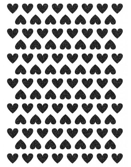 Blizgančios juodos širdelės. Interjero dekoracijos