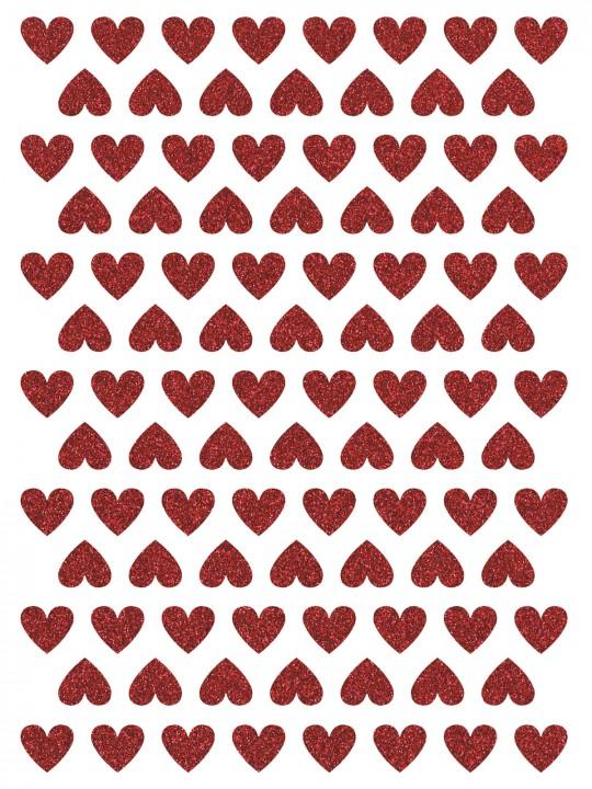 Interjero lipdukai. Blizgančios raudonos širdelės