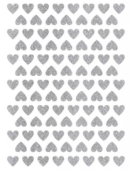 Blizgančios sidabrinės širdelės. Sienų dekoracijos