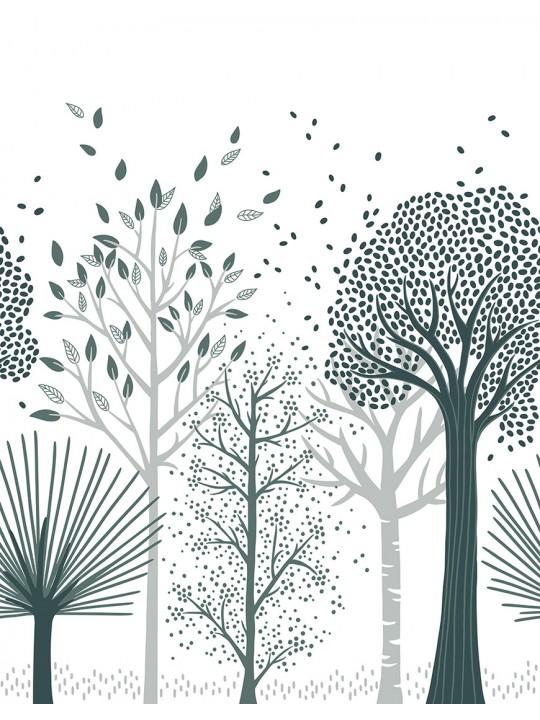 Tapetai. Melsvi medžiai