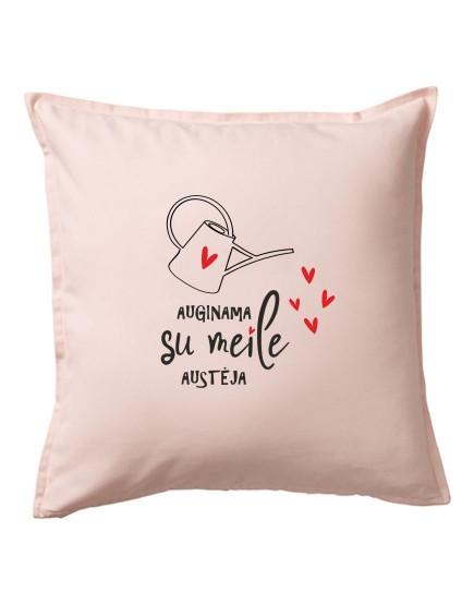 Auginama su meile. Personalizuota pagalvėlė su vardu.