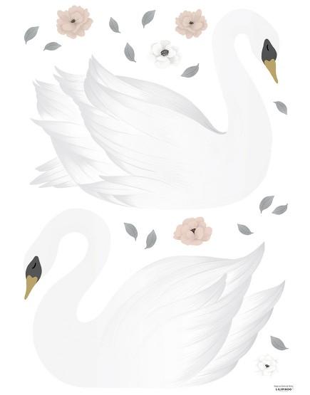 Dekoraciniai lipdukai. Baltos gulbės