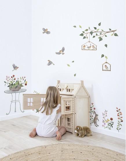 Vaikų kambario lipdukai. Triušiai ir gėlės
