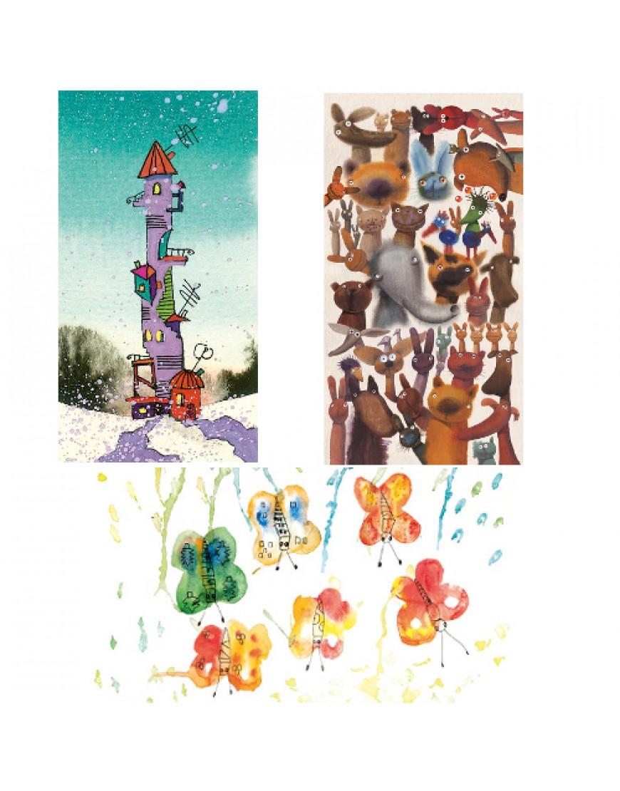 Dailininkų ir vaikų piešti atvirukai  3vnt. Pinigai skiriami paramai