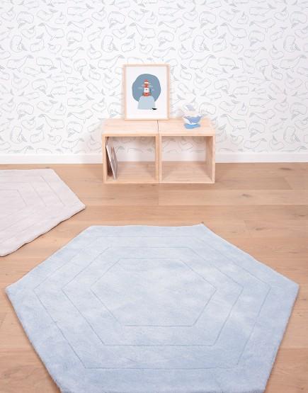 Mėlynas šešiakampis. Kilimas vaiko kambariui