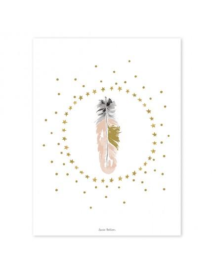 Vaikiškas plakatas. Flamingo plunksna