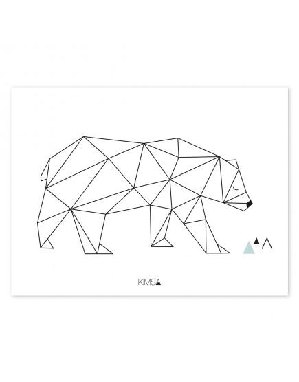 Origami meška. Plakatas