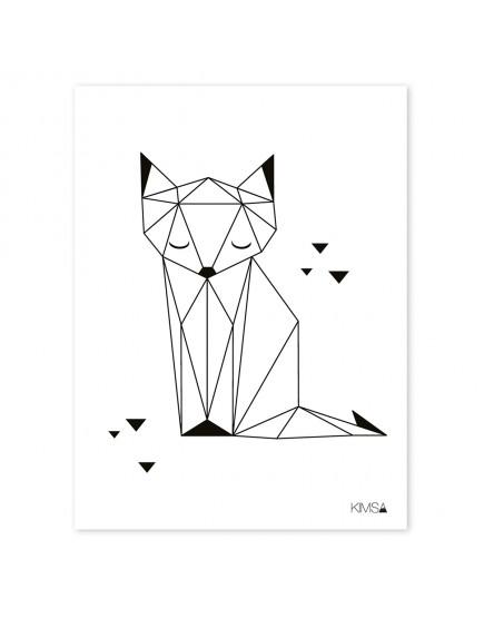 Origami lapė. Plakatas