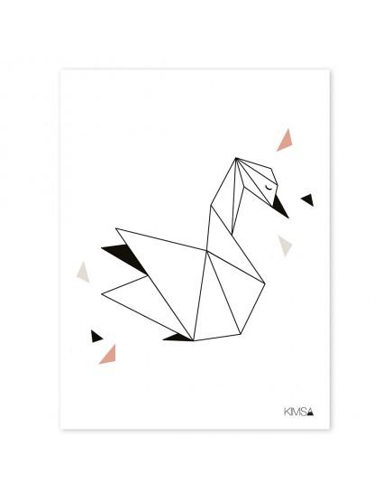 Origami gulbė. Plakatas
