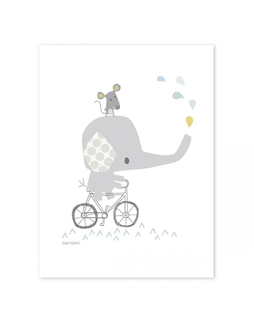 Drambliukas ant dviračio. Vaikiškas plakatas