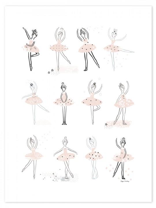 Šokančios balerinos. Plakatas mergaitei
