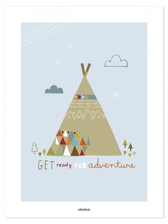 Indėnų tipis. Vaikiškas paveikslas