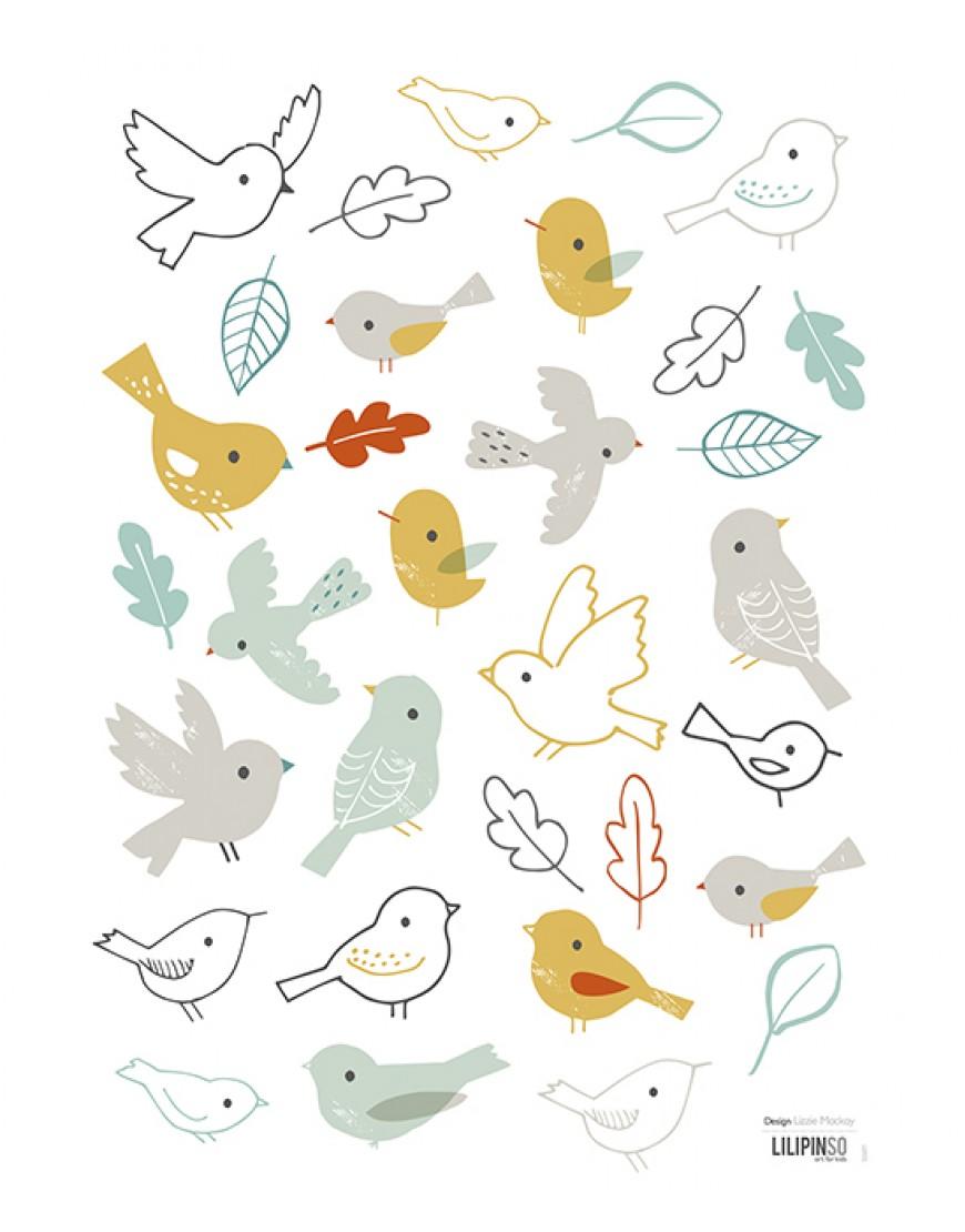 Sienų lipdukai. Miško paukščiai