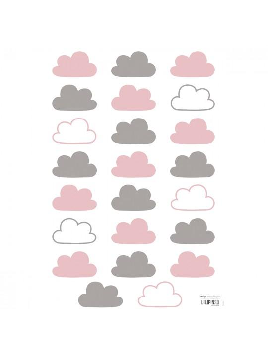 Sienų lipdukai. Rausvi debesėliai