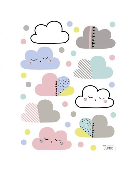 Vaikiški lipdukai. Spalvoti debesėliai