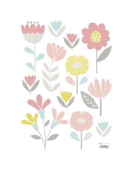Gėlės. Lipdukai mergaitės kambariui