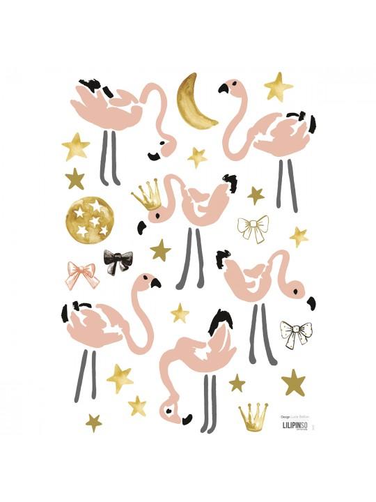 Flamingai ir žvaigždės. Dekoraciniai lipdukai