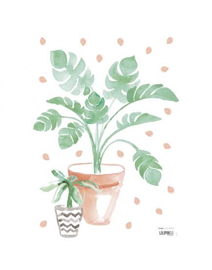 Gėlių vazonėlis. Lipdukas sienoms