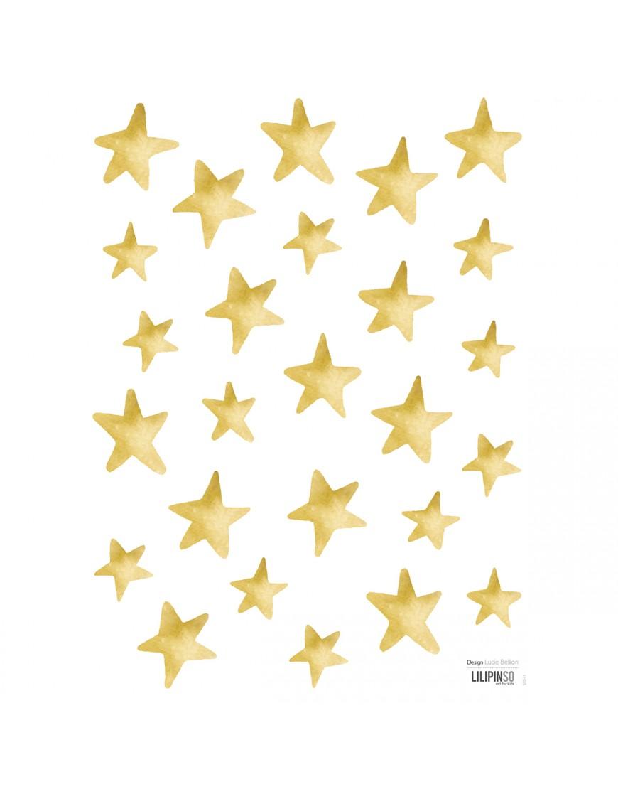 Dekoraciniai lipdukai. Auksinės žvaigždės