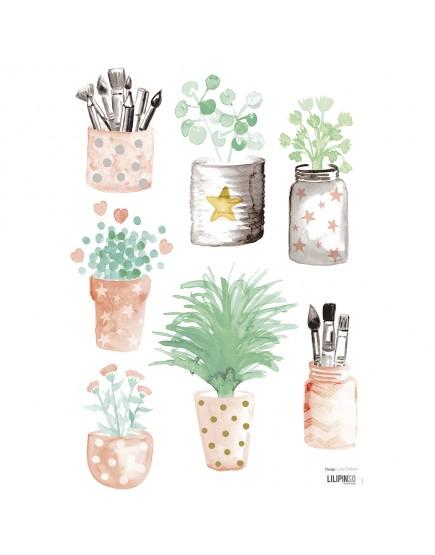 Gėlių vazonėliai. Lipdukai sienoms