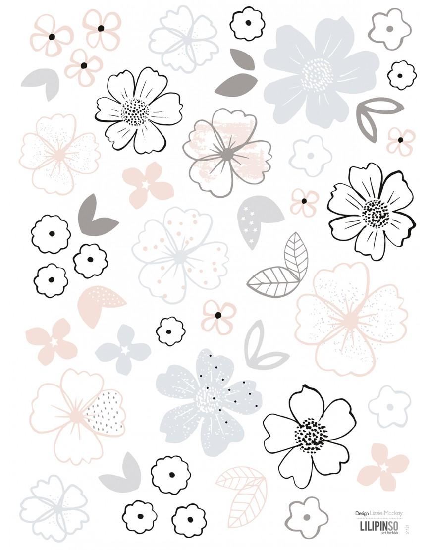 Gėlių žiedeliai. Lipdukai sienoms