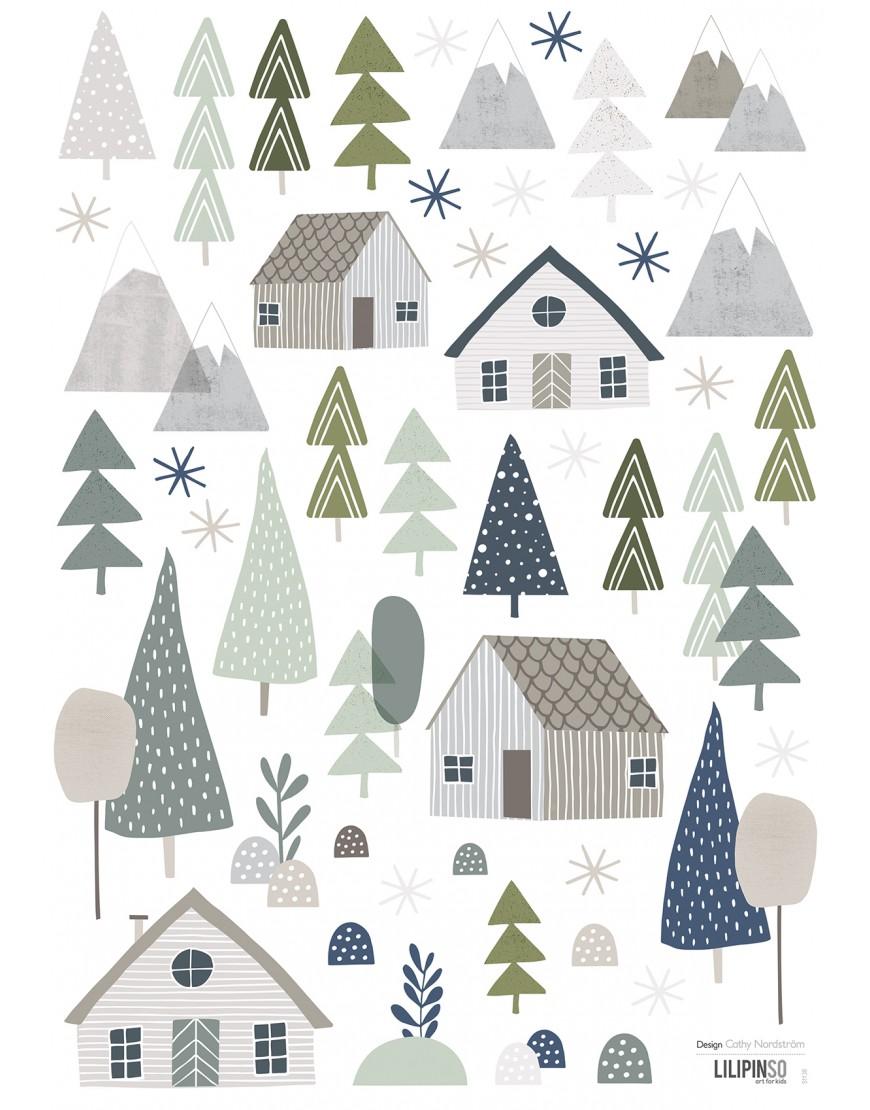 Namai ir miškas. Lipdukai kambario sienoms