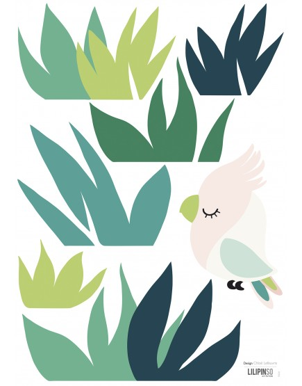 Mažas paukštelis žolėse. Lipdukai vaikams