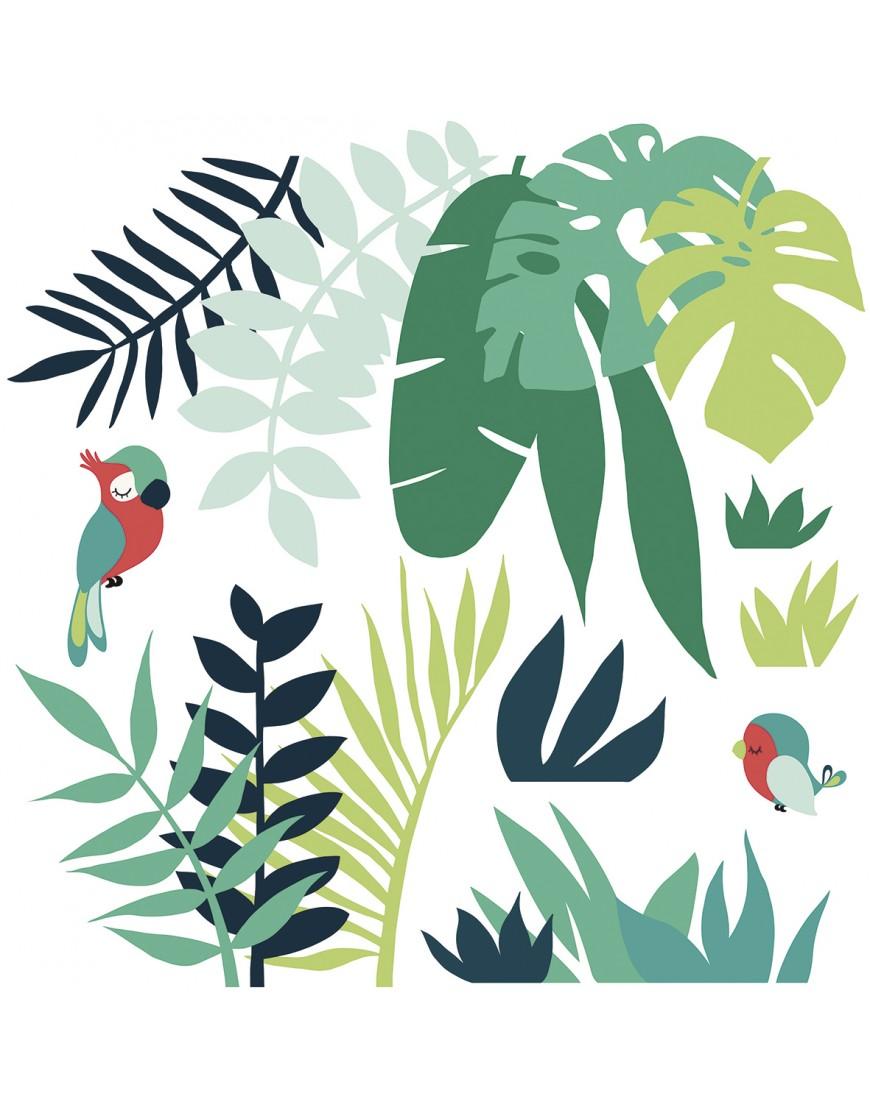 Stilingi vaikiški sienų lipdukai. Tropiniai lapai su papūga