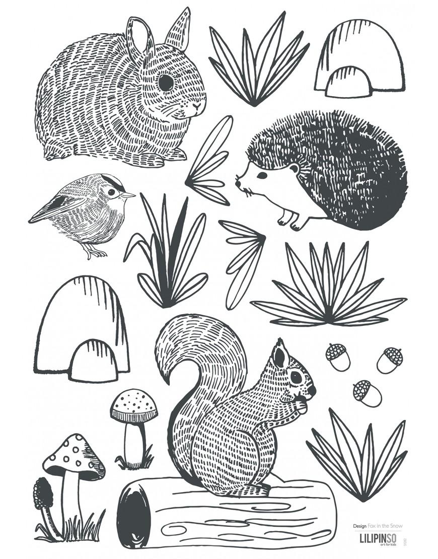 Miško gyvūnėliai.  Lipdukai sienoms