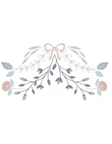 Gėlių ornamentai. Vaikiškas sienų lipdukas