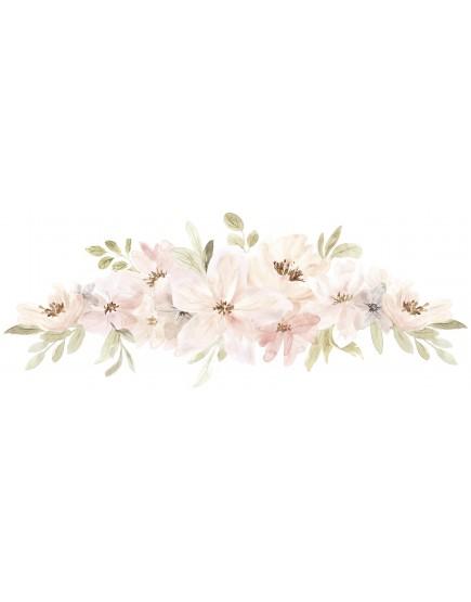 Pastelinių spalvų gėlių puokštės. Lipdukai sienoms