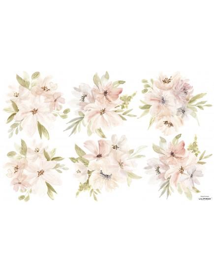 Pastelinių spalvų 3D gėlių puokštės. Lipdukai