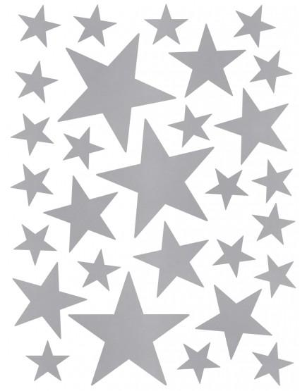 Interjero lipdukai. Žvaigždės sidabrinės spalvos