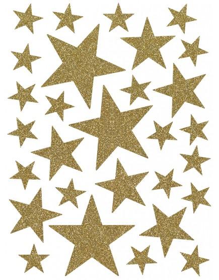 Interjero lipdukai. Aukso spalvos žvaigždės su blizgučiais