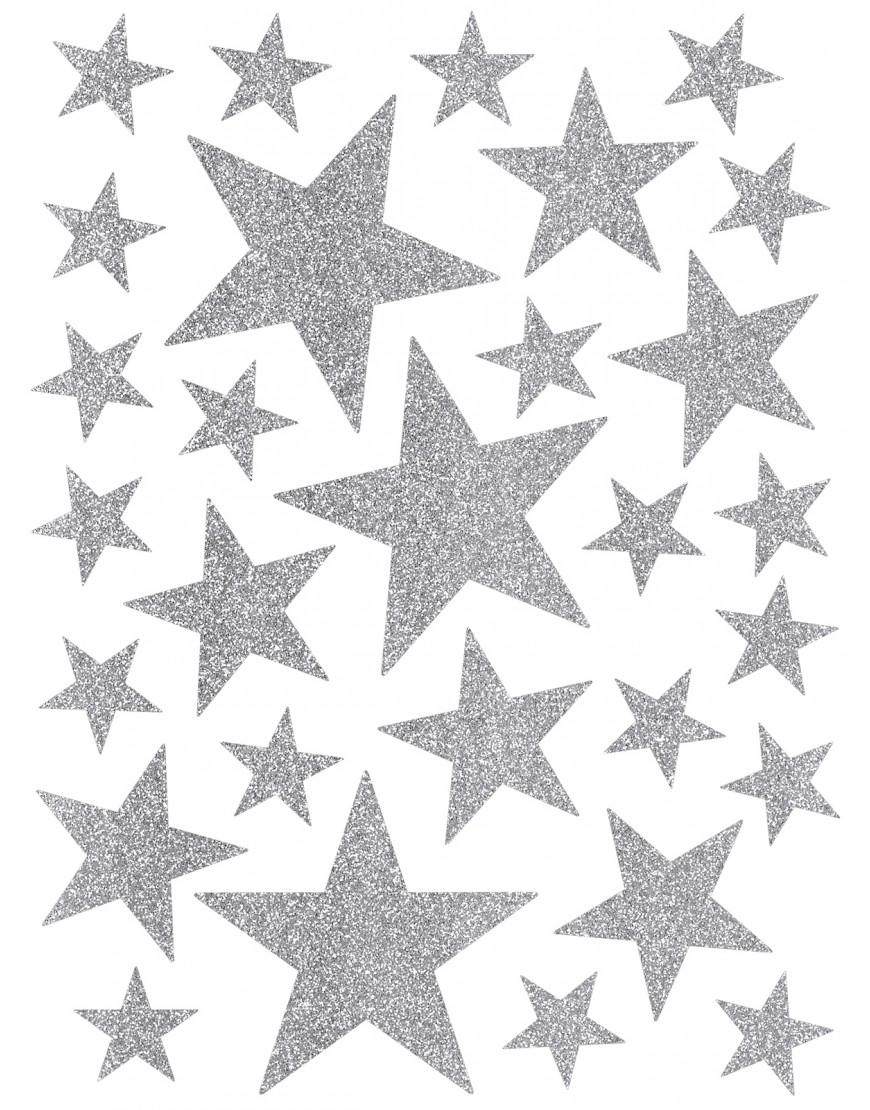 Interjero lipdukai. Sidabrinės spalvos žvaigždės su blizgučiais