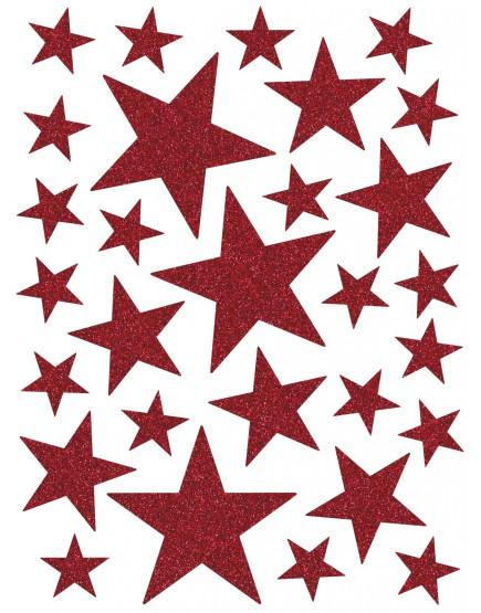 Interjero lipdukai. Raudonos spalvos žvaigždės su blizgučiais