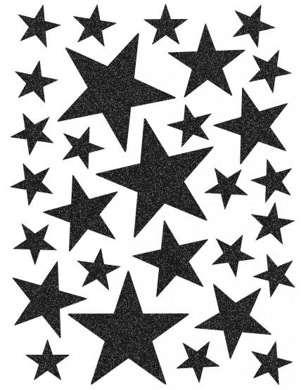 Interjero lipdukai. Juodos spalvos žvaigždės su blizgučiais