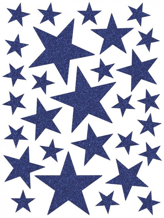 Interjero lipdukai. Mėlynos spalvos žvaigždės su blizgučiais
