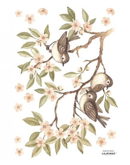 Paukščiai ant šakos. Dekoraciniai sienų lipdukai.