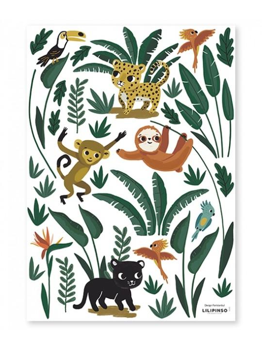 Džiunglių gyvūnai. Lipdukai sienoms