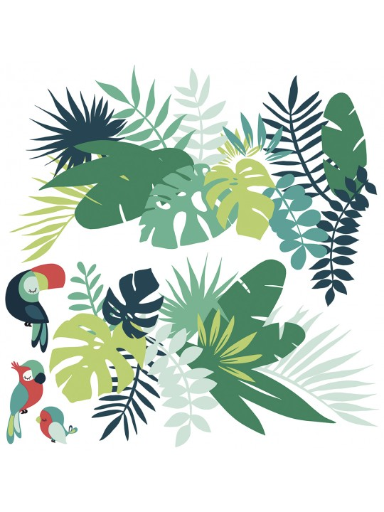 Stilingi vaikiški sienų lipdukai. Tropiniai lapai