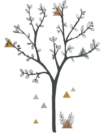Lipdukas interjerui. Trikampių medis