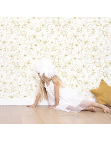 Tapetai. Auksinės gėlės