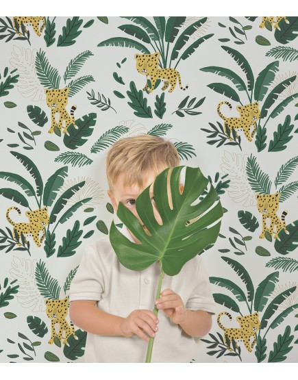 Vaikiški tapetai. Leopardas džiunglėse