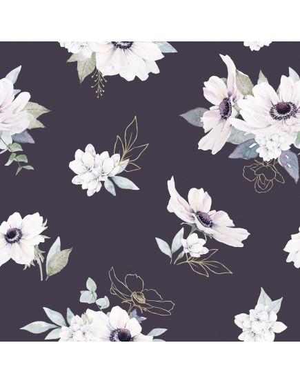 Tapetai vaiko kambariui. Gėlės violetiniam fone